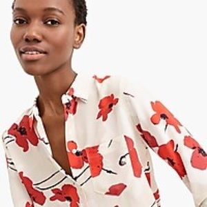 J. Crew Tops - NWT J. CREW Poppy Print Silk Shirt Sz 6